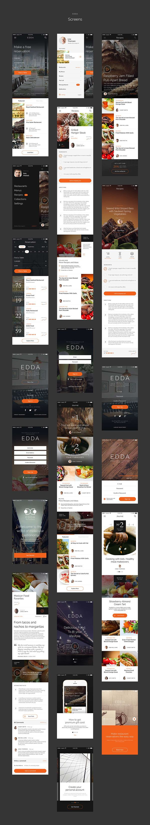 EDDA — is Premium UI kit for Restaurant & Cafe or any food related business iOS application. With current kit you can easily create an attractive iPhone or Android applications.