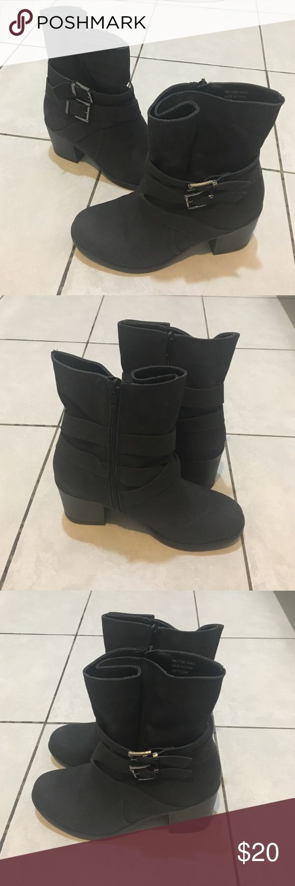 Black heeled boots, size 9 Beautiful black suede boots. Size 9, great condition. Wide fit but fits a smaller calf as well! Primark Shoes Ankle Boots & Booties