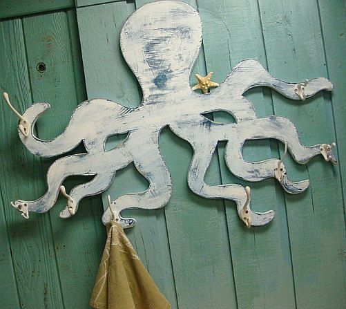 Octopus Coat Hook Rack Art Sign Beach House Decor by CastawaysHall, $125.00