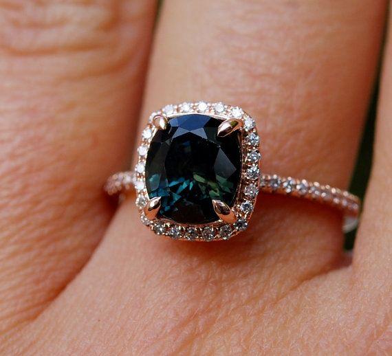 Rose gouden verlovingsring. Groene Sapphire ring. door EidelPrecious