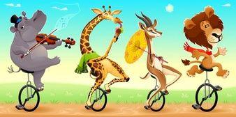 Animais selvagens engraçados na ilustração monociclos Vector desenhos animados