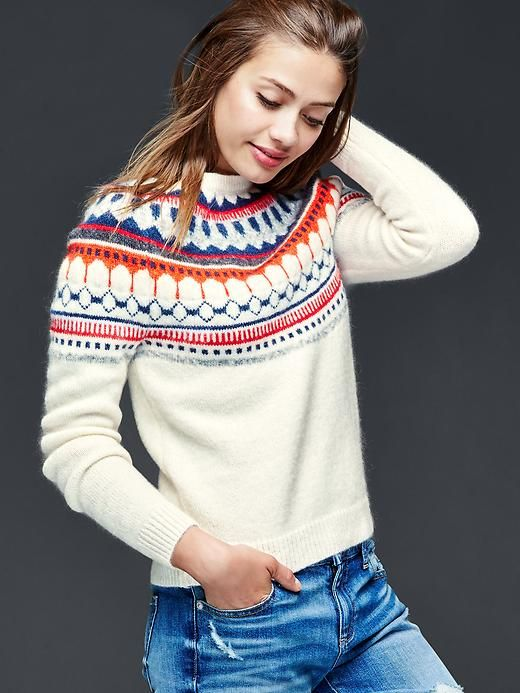 Something similar to this. Nordic/fair isle inspired. Nothing purple or pink!