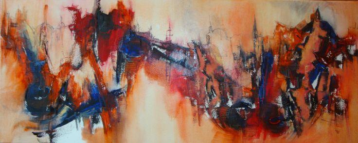 """""""Un lugar en el mundo"""" - Silvia Hilerowicz - Oleo sobre tela - 40 x 100 cm  www.esencialismo.com"""