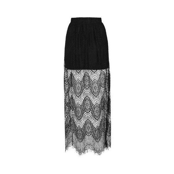 TopShop Lost Lead - Black Moroccon Maxi Skirt ($51) ❤ liked on Polyvore featuring skirts, black, topshop maxi skirt, ankle length skirt, topshop, lace skirt and maxi skirt