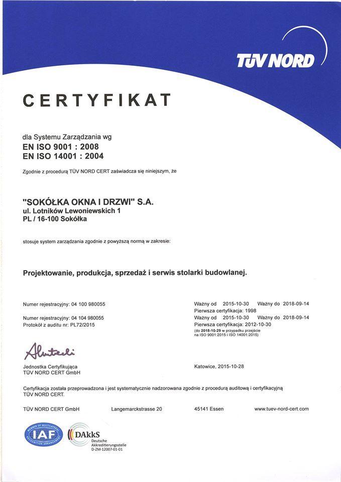 Nasza firma zdobyła kolejny cenny certyfikat! Emotikon smile Tym razem jest to Certyfikat TUV Nord dla systemu zarządzania wg EN ISO 9001 : 2008 i EN ISO 14001 : 2004 w zakresie: Projektowanie, produkcja, sprzedaż i serwis stolarki budowlanej.   Chcesz zobaczyć więcej naszych certyfikatów i nagród? Zajrzyj na stronę: http://sokolka.com.pl/nagrody-i-certyfikaty.html  #Sokółka #OknaDrewniane #Certyfikaty