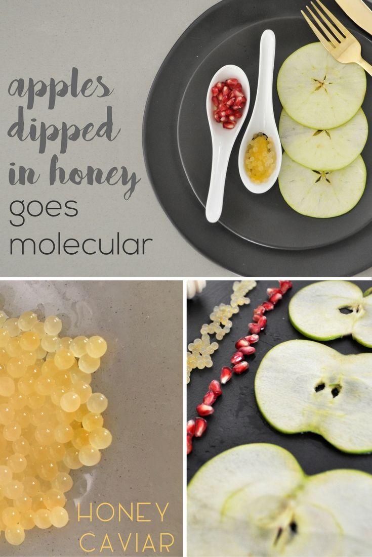 Apples dipped in honey goes molecular with apple carpaccio and honey caviar