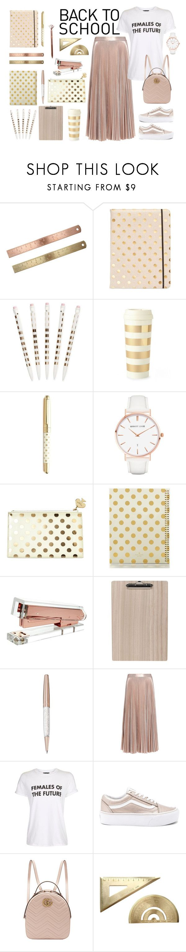 """Back to school"" by gemslbrown ❤ liked on Polyvore featuring Kate Spade, Abbott Lyon, Swarovski, A.L.C., Topshop, Vans and Gucci"