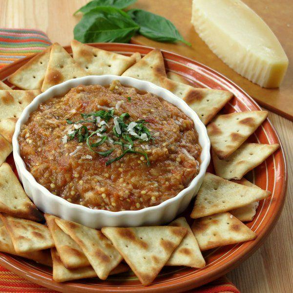 Roasted Eggplant Parmesan Dip - #lowcarb #glutenfree #vegetarian #healthy