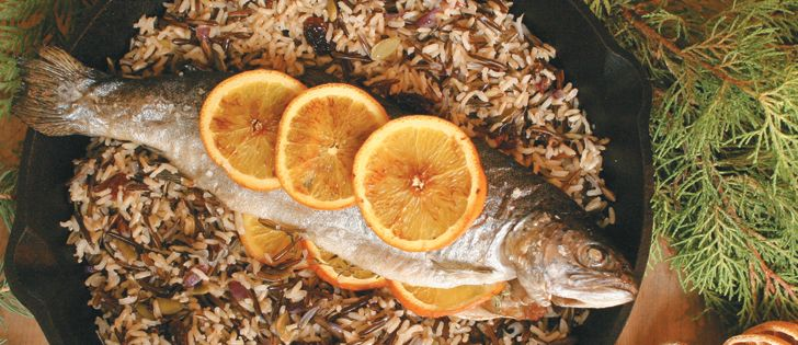 """WP 5 TROUT: MUSSELS in a Tomato/White Wine Broth; Fritto MISTO Amalfitano; Smoked SALMON Chowder; SHRIMP alla Buzara; Roasted Rainbow TROUT w/Orange & Thyme. """"Go Italian w/feast of the 7 fishes."""" Recipe. ~ The Western Producer"""