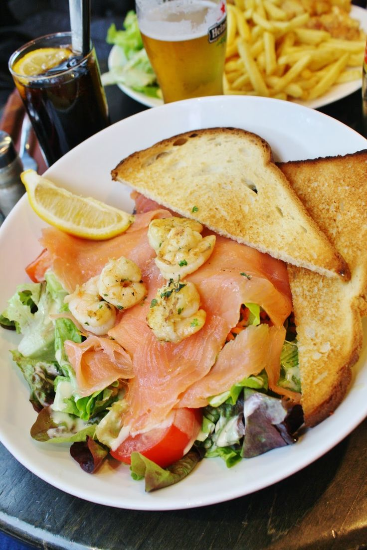 Salmon salad for lunch looking over Seine, Paris