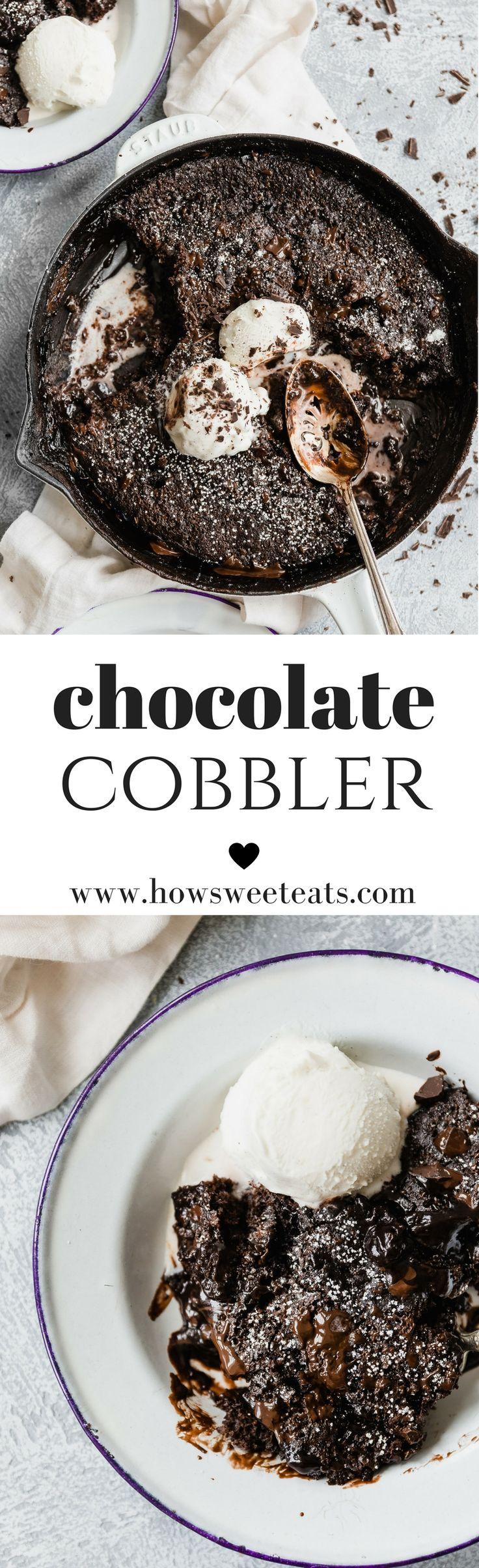 Chocolate Cobbler! The most indulgent, perfect dessert. I howsweeteats.com @howsweeteats