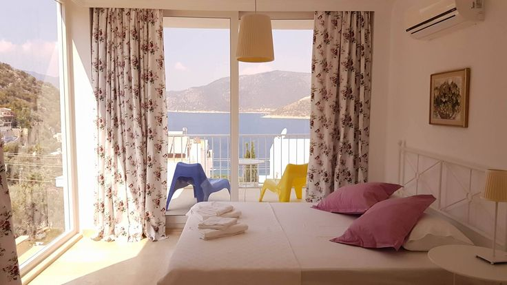 an amazing bedroom from villa white suites. #kalkan #antalya #bedroom #yatakodası #roomwithaview #holiday #rentals #manzara