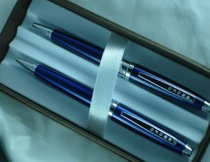 Cross Cardinal Blue Lacquer Pen Pencil Set by Cross. Save 28 Off!. $49.99. The unique teardrop form of this blue Cardinal ballpoint pen and pencil set heightens its sleek and contemporary style. Includes 1 Black Medium Ball-Point Refill (8513) in pen and 5 Pencil Leads (8402) / 1 Pencil Eraser in pencil