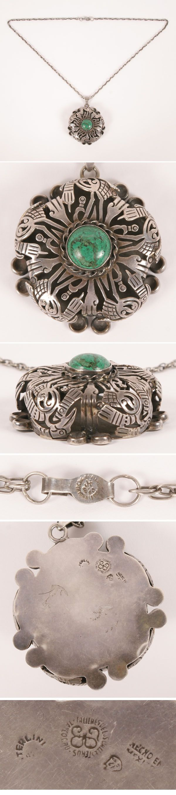 Los Ballesteros Mexican Sterling Turquoise Pendant