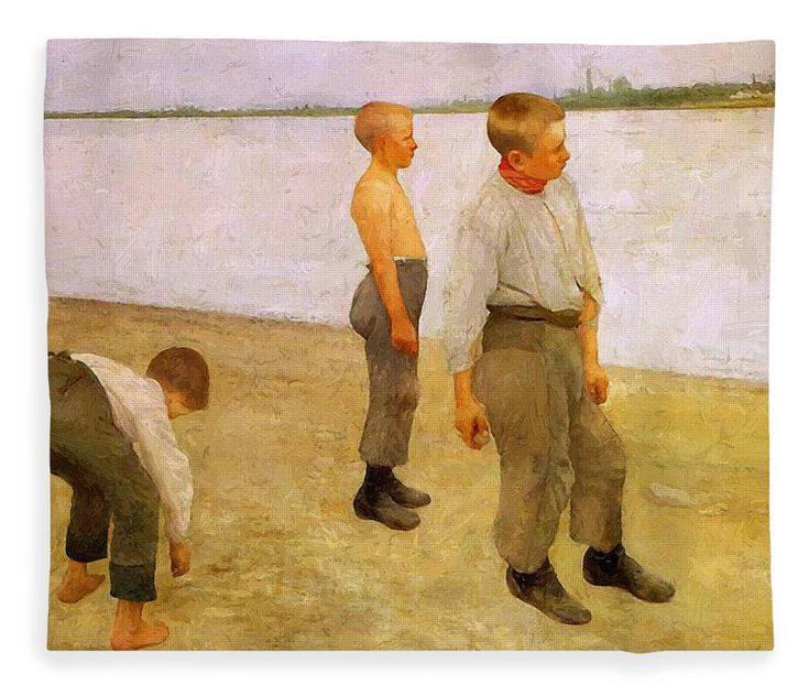 Boys Fleece Blanket featuring the painting Boys Throwing Pebbles Into The River 1890 by Ferenczy Karoly