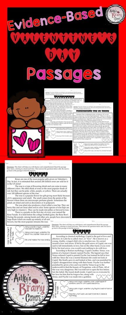 These Valentine's Day passages are a great way for students to practice fluency as well as comprehension. There are 3 text-dependent questions that are evidence based. Topics include Who was St. Valentine?, History of Valentine's Day cards, Roses, Chocolate, Making chocolate, Cupid, and Valentine's Day in Italy, Spain, and France.