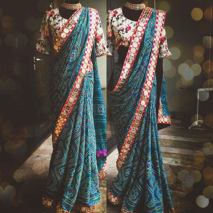 """""""I am in ❤️ This sea green bandhini mirror work saree is gorgeous as it is... 9"""