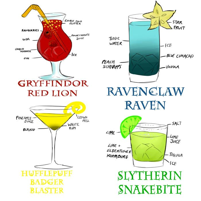 Harry Potter themed drinks....because I will have harry potter included in my wedding!!!
