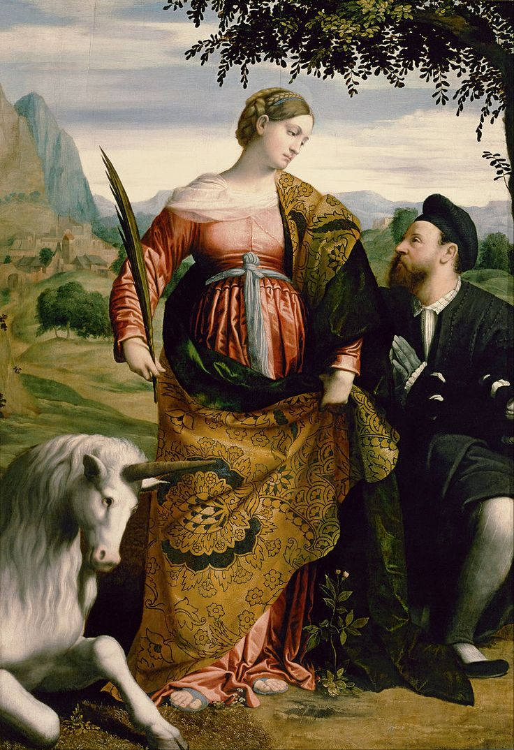 Moretto da Brescia - St. Justina, Venerated by a Patron - Google Art Project - Category:Google Art Project works by Moretto da Brescia - Wikimedia Commons. Moretto да Брешиа - Санкт-Юстина, почитаемая покровителем.