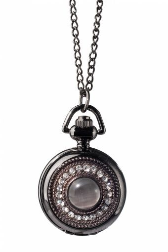 From Paris with Love! - Strass Noir horloge ketting antraciet zwart
