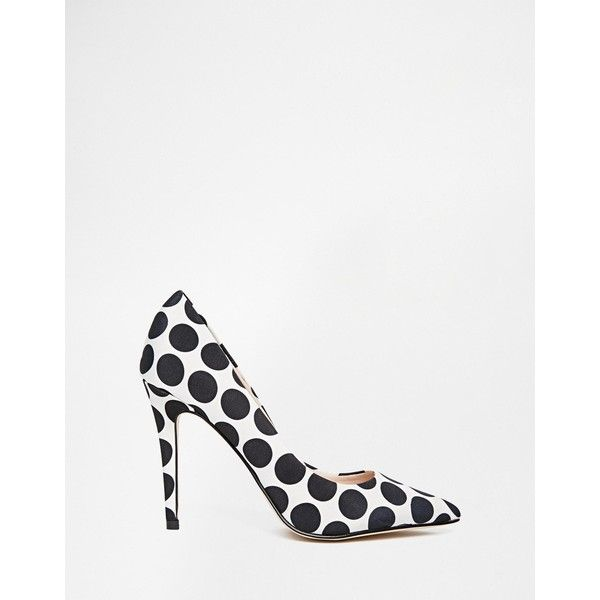 ALDO Choewia Leather Black & White Spot Heeled Court Shoes (38.835 CRC) ❤ liked on Polyvore featuring shoes, pumps, heels, black and white pumps, black white pumps, black white polka dot pumps, polka dot pumps and heels & pumps