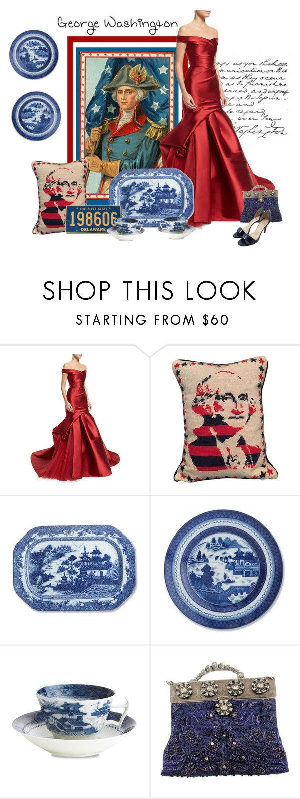 """George Washington First Father Of Our Country"" by carla-altum ❤ liked on Polyvore featuring Monique Lhuillier, Jonathan Adler, Williams-Sonoma, George, Selection Privee, Christian Louboutin and country"