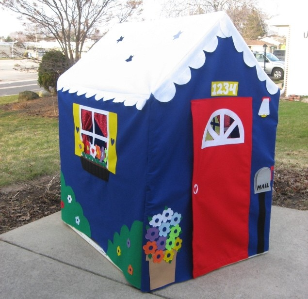 My Garden Cottage, Large Fabric Playhouse, Fits PVC Frame Frame You Build, Custom Order, Other Styles Also Available. $410.00, via Etsy.