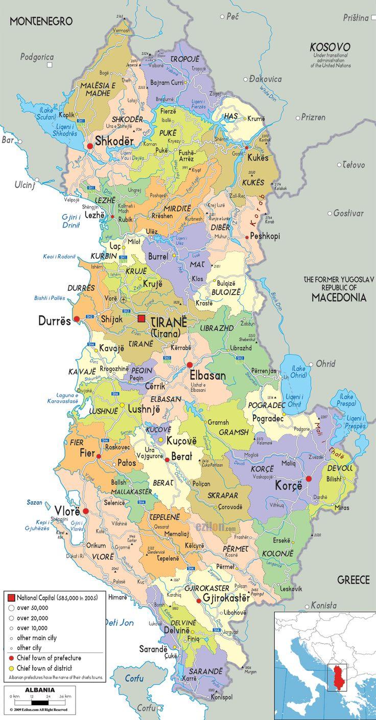 Political Map of Albania - Ezilon Map