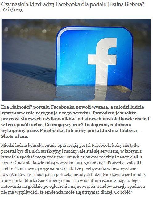 Facebook zagrożony przez portal Justina Biebera? Dlaczego nastolatki rezygnują z korzystania z najbardziej popularnego portalu społecznościowego? http://socialpress.pl/2013/11/czy-nastolatki-zdradza-facebooka-dla-portalu-justina-biebera/#