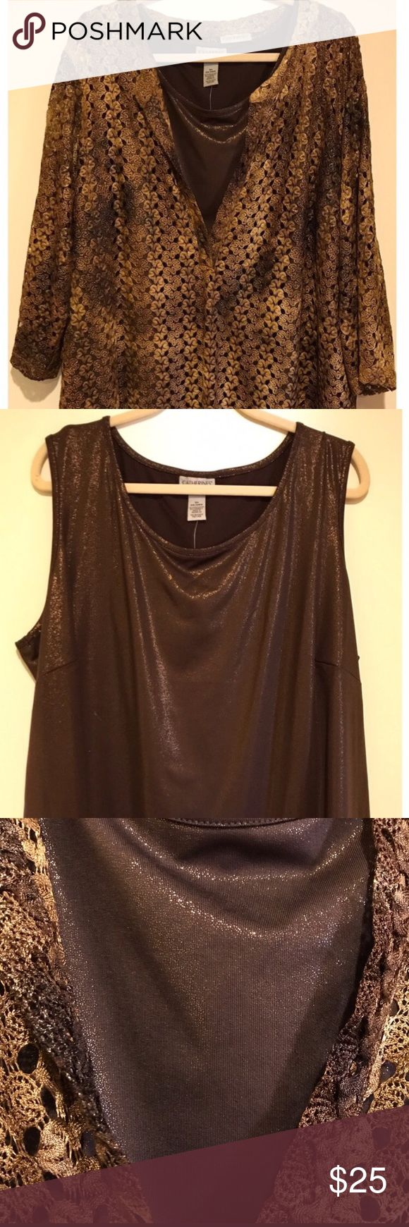 Catherine's Gold/Brown Metallic Blouse & Tank Set Gold/Brown metallic blouse and sparkly tank to go underneath. Like new! Smoke free home. Catherines Tops