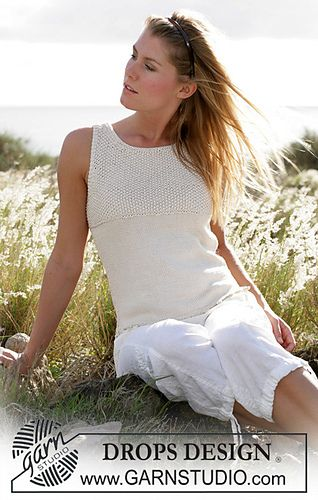 Top knitted in moss stitch with Cotton Viscose