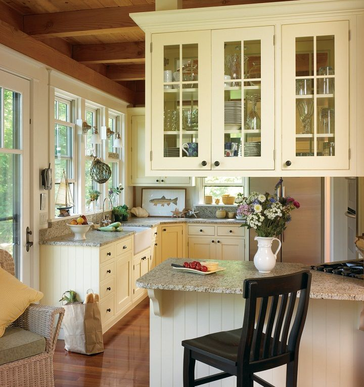 Small Country Style L Shaped Cooking Space Kitchen Design Ideas With Marble  Countertops Peninsula And Black Wood Stool Plus Top Storage Cabinets.