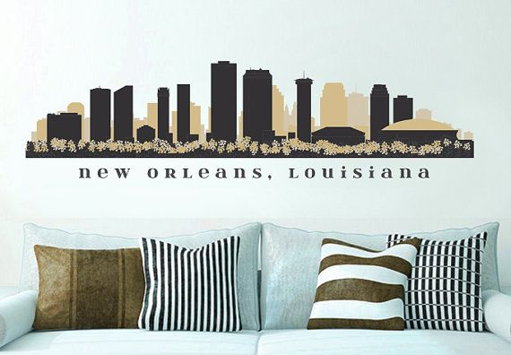 Repositionable Decal NFL SAINTS New Orleans Skyline. The material used for this Decal is Repositionable Printed Fabric and will look best applied