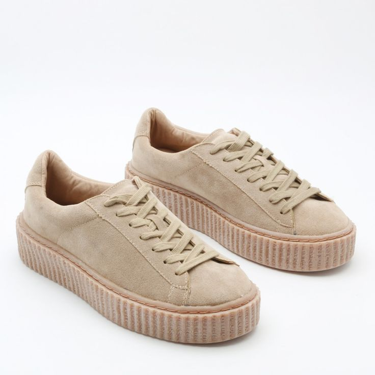 Yinka Creepers In Grey Faux Suede and Gum Sole | Public Desire