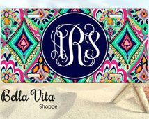 Monogrammed Car Tag - Floral Jewels - Personalized Front License Plate