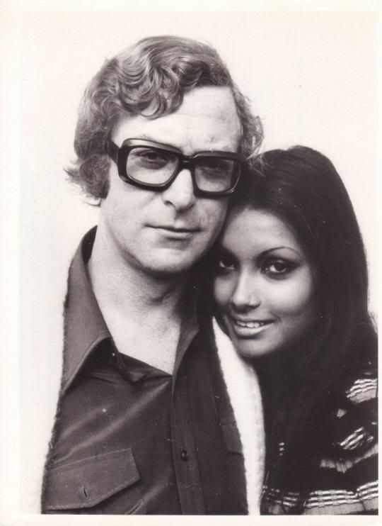 Michael Caine & wife Shakira Baksh in their youth.  Weren't they pretty together?  So how come they have such an ugly daughter?  That's just ... wrong.