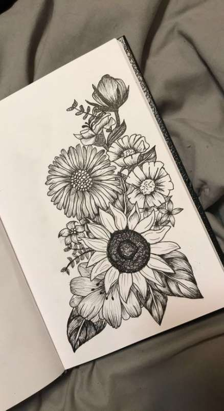 29+ Trendy Drawing Flowers Tattoo Sunflowers