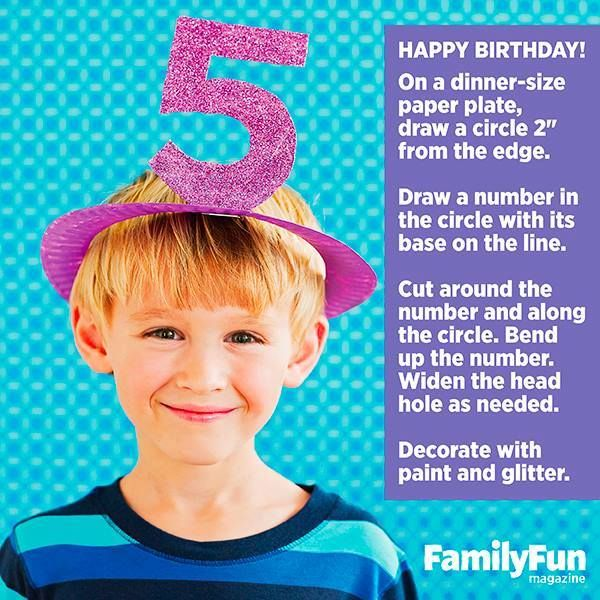 Know someone for whom the Big 5 is coming up? Make a cute paper plate hat (or 10--they're that easy) for party.