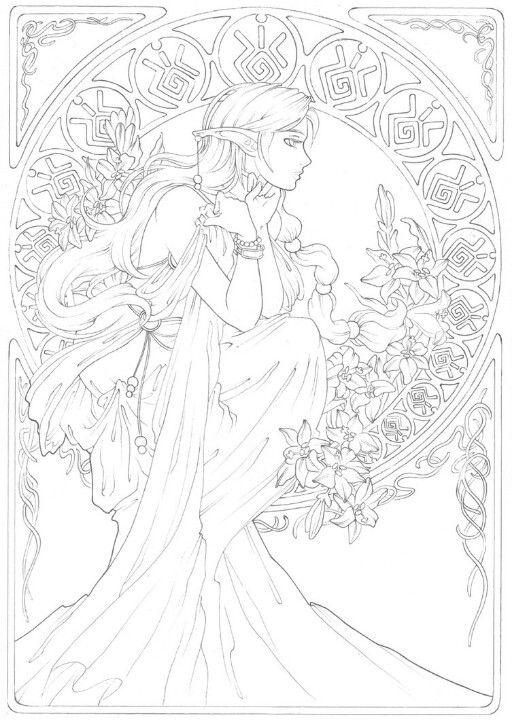 Fantástico Unicornio Art Nouveau Para Colorear Elaboración - Páginas ...