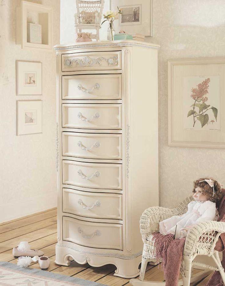 Elegant Lea Jessica McClintock Romance Kids 7 Drawer Semainier Lingerie Chest In  Antique White Finish
