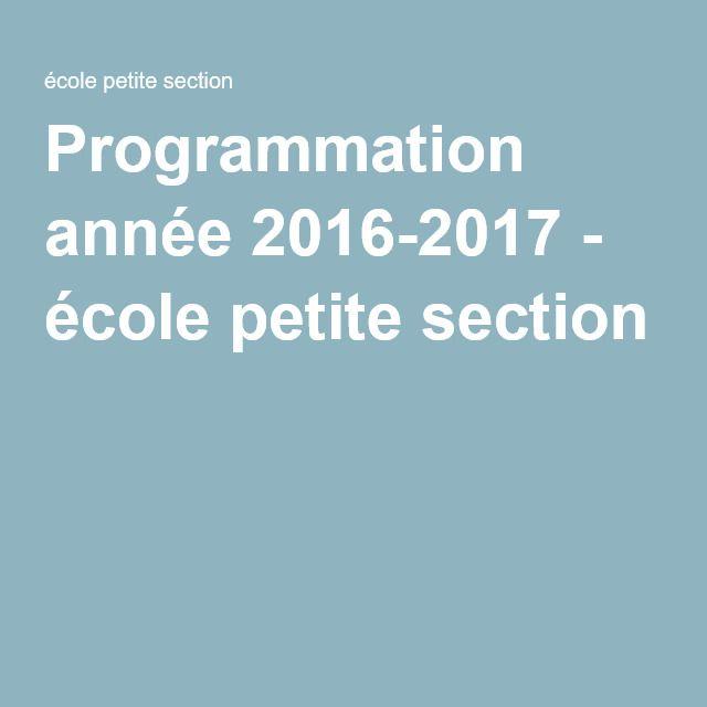 Programmation année 2016-2017 - école petite section