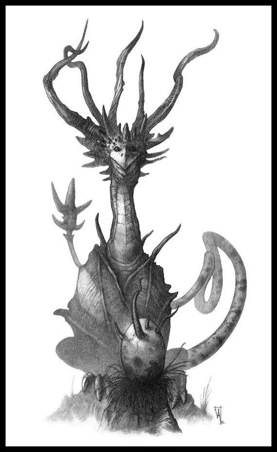 Mother Dragon  Original drawing  Fantasy Art by OlivierVilloingt