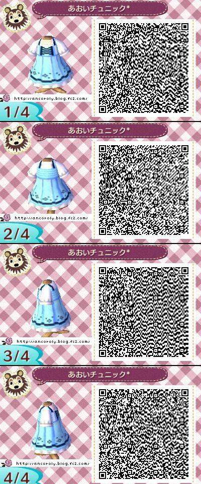 Animal Crossing New Leaf QR codes cute blue dress