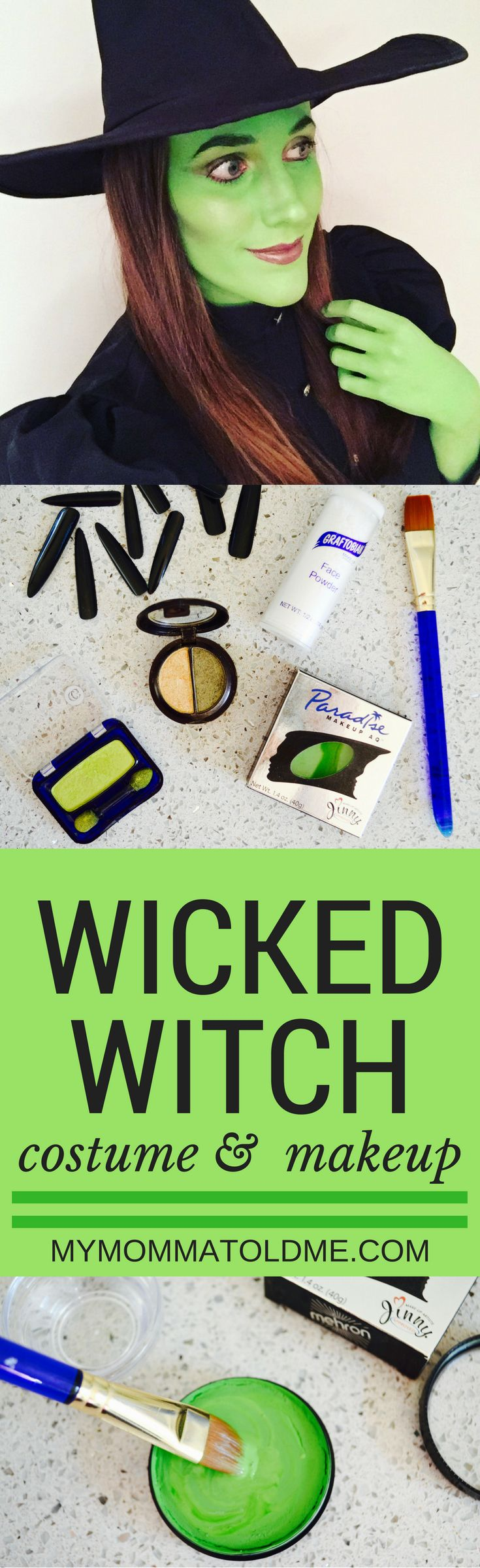 Wicked Witch of the west costume and makeup guide.  Find out the best costume to buy, make up supplies and learn how to paint yourself green!  Easy face contouring with eye shadow.  Everything you need to be the best green wicked witch or Elphaba halloween costume from Wicked!