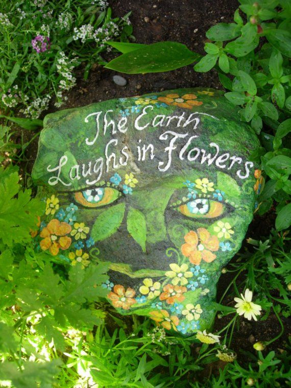The earth laughs in flowers hand painted garden rock - Painting rocks for garden what kind of paint ...