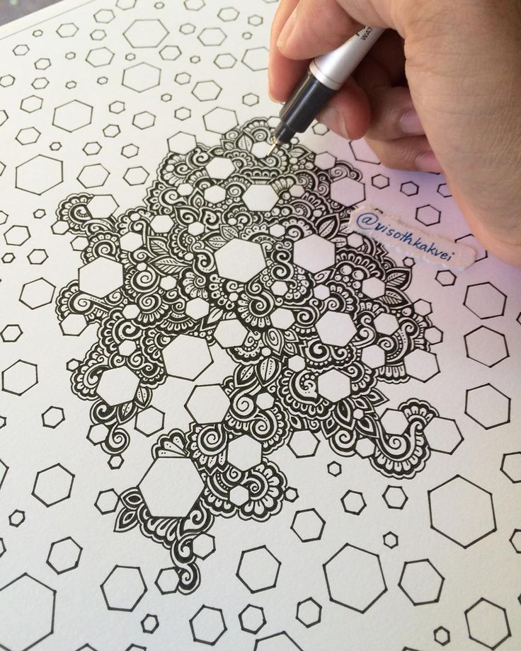 New artwork in progress. #wip #bee #original by visothkakvei. Zendoodle, zentangle, pattern, rhythm, repetition, shape