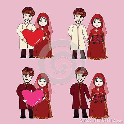 Muslim wedding couple, bride and groom holding each other's hand with happy face, holding heart shaped in Islamic wedding dress.