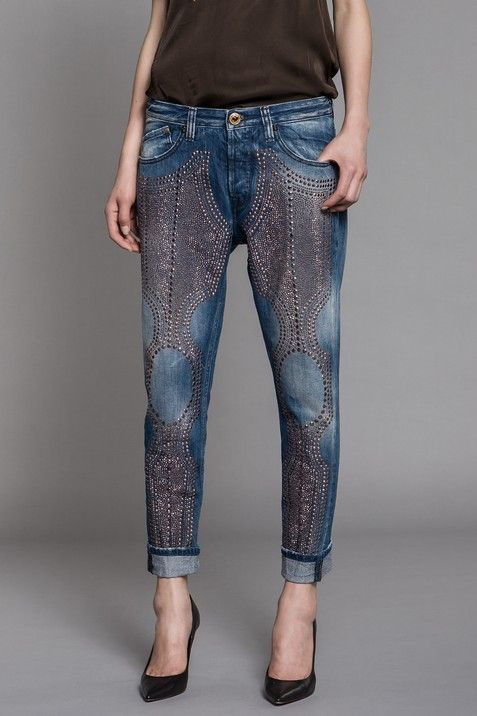 Blue cotton denim boyish fit jeans with areas of wear&tear, multi size bronze rivets on front of legs. - Replay