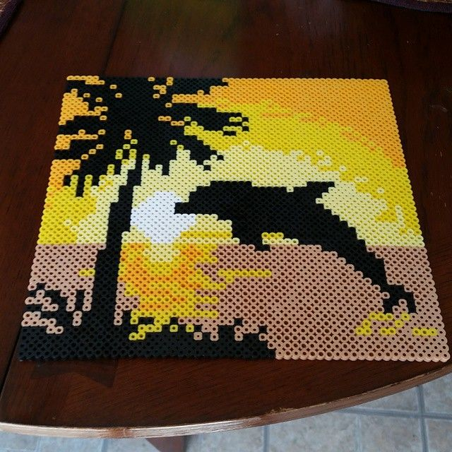 Dolphin sunset perler beads. Very Beautiful ^-^