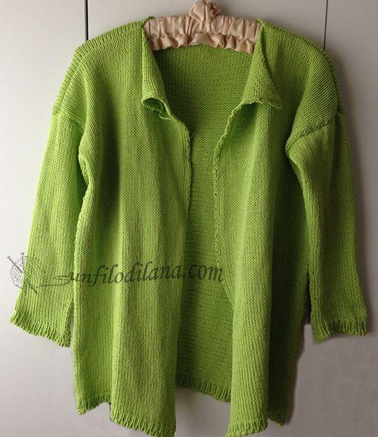giacca da portare aperta, senza bottoni, in cotone verde-prato